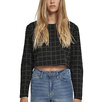 Urban Classics Ladies - CHECK Cropped Sweater Black