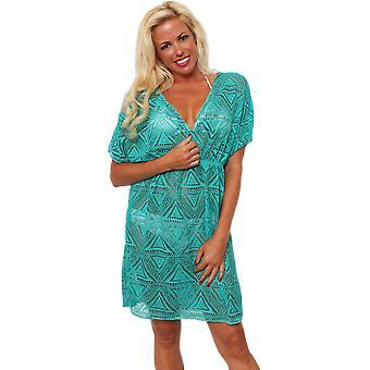 Shore Trendz Women's Crochet V-Neck Beach Dress
