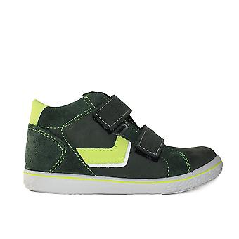 Ricosta Laif 2527700-587 Olive Green Leather Boys Rip Tape Casual Ankle Boot