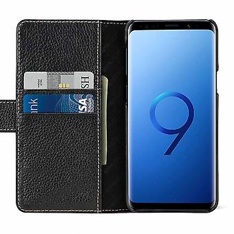 Case For Samsung Galaxy S9 Black Grained Card Holder In True Leather