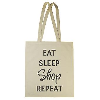 Eat Sleep Shop Repeat - Canvas Tote Shopping Bag