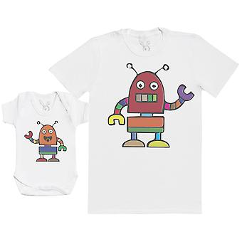 Robots - Baby Gift Set with Baby Bodysuit & Father's T-Shirt