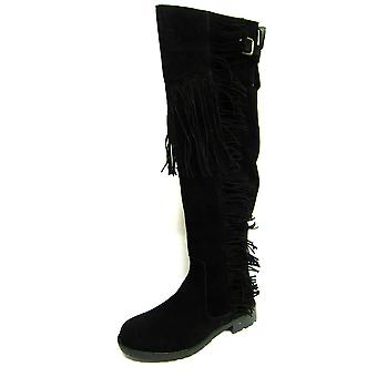 Ladies Spot On Boots F50488 Black Suedette Size 3 UK