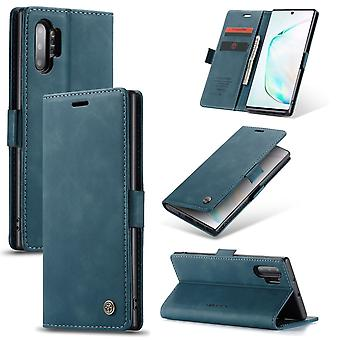 For Galaxy Note 10+ Folio Leather Case , Card Slot & Holder & Wallet, Blue