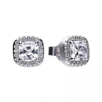 Diamonfire Silver & White Zirconia Pave Set Square Solitaire Stud Earrings