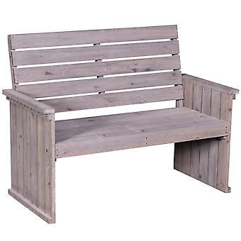 Outsunny 2-Seater Wooden Garden Bench Garden Outdoor Balcony Furniture Washed Grey