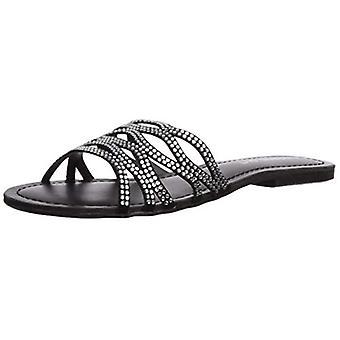 Madden Girl Women's SUNDAAY Slide Sandal, Black/Multi, 7.5 M US