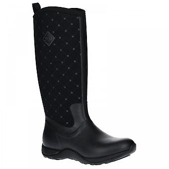 Muck Boots Ladies Arctic Adventure Black Quilt Pull On Fleece Lined Wellington Boots