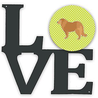 Caucasian Shepherd Dog Checkerboard Green Metal Wall Artwork LOVE