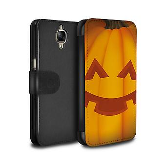 STUFF4 PU Leather Wallet Flip Case/Cover for OnePlus 3/3T/Happy/Halloween Pumpkin