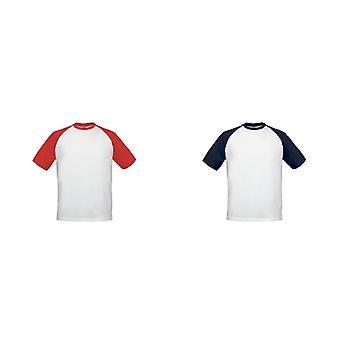 B & C Mens İki Ton Kısa Kollu Beyzbol T-Shirt