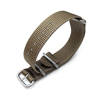 Strapcode n.a.t.o watch strap   miltat 20mm, 22mm or 24mm 3 rings zulu military watch strap 3d woven nylon armband - khaki, brushed hardware