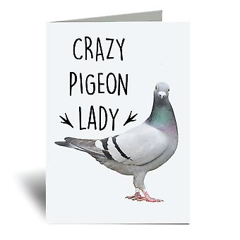 Crazy Pigeon Lady A6 Greeting Card