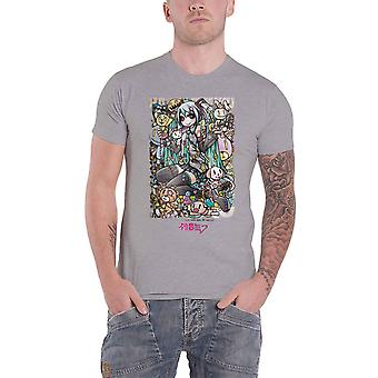 Hatsune Miku T Shirt Cute Animals Logo new Official Mens Grey