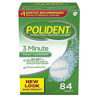 Polident 3 minute denture cleanser, mint, 84 ea