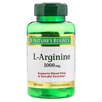 Nature's bounty l-arginine, 1000 mg, aminozuursupplement, tabletten, 50 ea