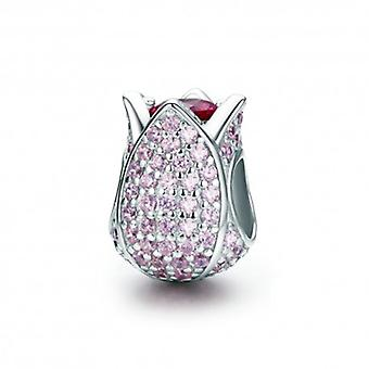Sterling Silver Charm Pink Tulip - 5534