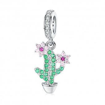 Sterling Sølv Vedhæng Charm Kaktus med blomster - 6406