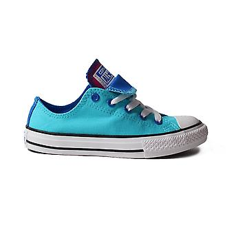 Converse Chuck Taylor All Star Double Tongue 656006C Blue Canvas Childrens Unisex Lace Up Shoes