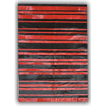 Rugs -Patchwork Leather Cowhide - ST7-62 Red & Black Stripes