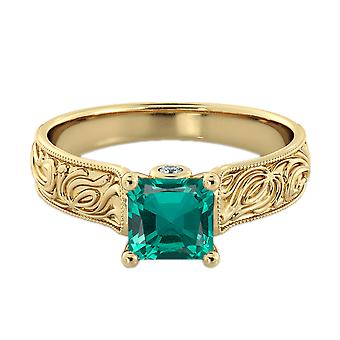 14K Yellow Gold 2.06 ctw Emerald Ring with Diamonds Filigree Cathedral Princess