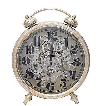 Newton alarm metallic moving cogs standing clock - Silver & Gold