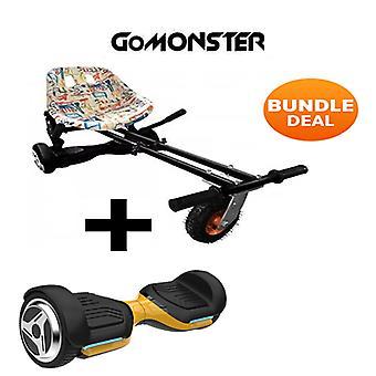 """6.5"""" G PRO Gold Bluetooth Hoverboard con Go Monster Hoverkart en Graffiti"""