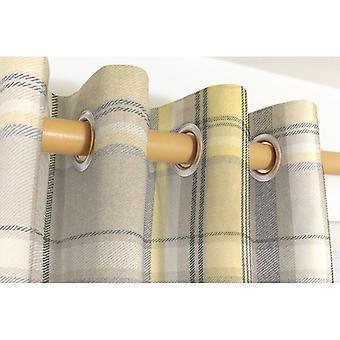 Mcalister Textilien Erbe Tartan überprüfen Mimose gelb + graue Vorhänge