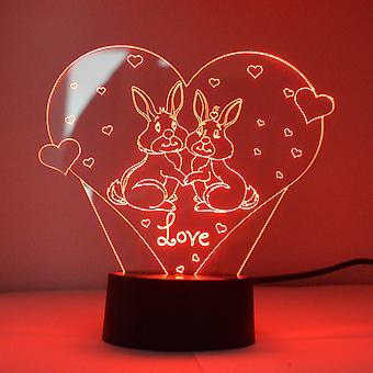 Kjærlighet kaniner på hjerte farge skiftende LED mini akryl lys