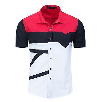 Allthemen Pánske&apos, s čierne tlačidlá Colorblock klopě módne ležérne voľné krátky rukáv-shirt