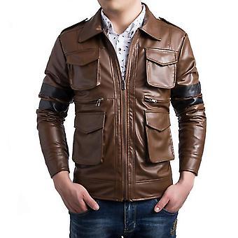 Allthemen Men's Leather Jacket Lapel Multi-Pockets Zipper Leather Coat