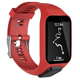 for TomTom Runner 3 Replacement Wristband Bracelet Strap Band Metal Buckle GPS Watch[Red]
