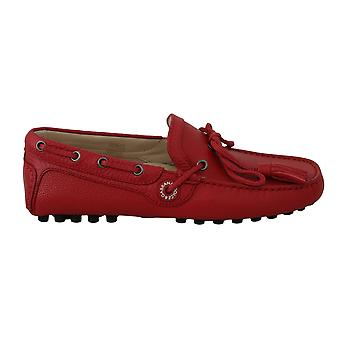 Dolce & Gabbana Red Leather Flat Loafers Moccasin Mens Shoes -- MV23752560