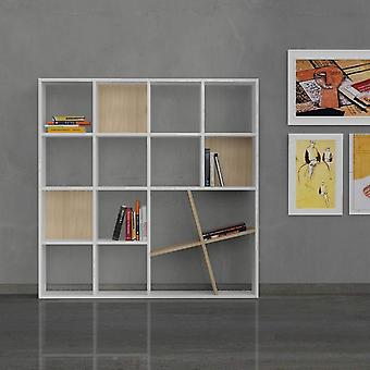 Libreria Honey Color Bianco, Quercia in Truciolare Melaminico 125x24x125 cm