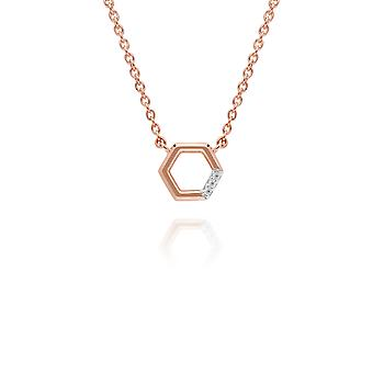 Diamond Pave Hexagon Necklace in 9ct Rose Gold 191N0230019