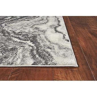 3'x5' Ivory Grey Machine Woven Marble Indoor Area Rug