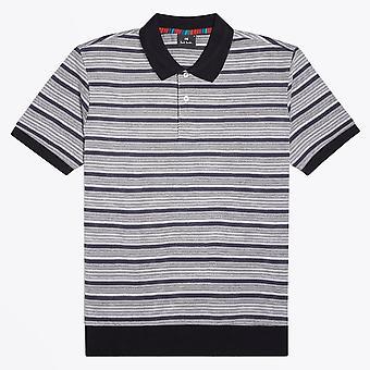 PS Paul Smith  - Stripe Polo Shirt - Grey/White