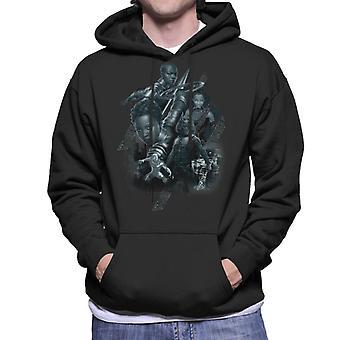 驚嘆ブラックパンサー グレースケール聖戦士ダンバイン モンタージュ メンズ フード付きスウェット シャツ