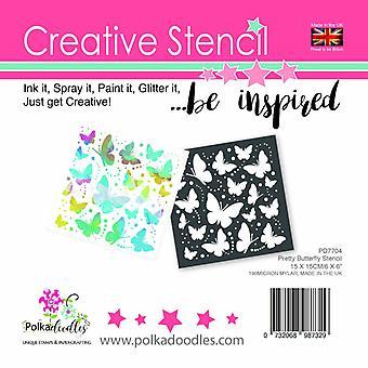 Polkadoodles Pretty Butterfly 6x6 Inch Stencil