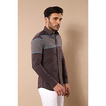 Printed cotton brown shirt