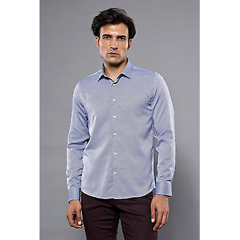 Slim-fit blå mönstrad skjorta   wessi