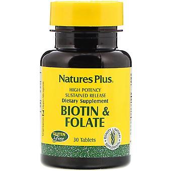 Nature's Plus, Biotin & Folate, 30 comprimés