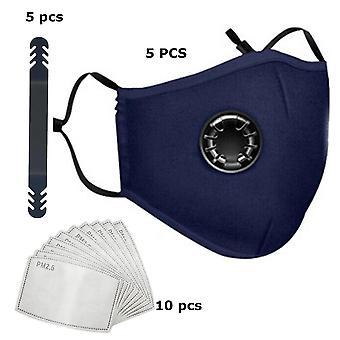 5 Pack Mundmaske - Mundkappe mit Atemfilter blau - komplett