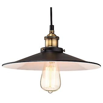 1 Light Dome Ceiling Pendant Black, Antique Brass, E27