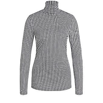 Oui Dogtooth Jersey Polo Neck Top