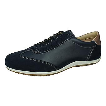 Geox D Vega A Womens Leather Trainers - Navy