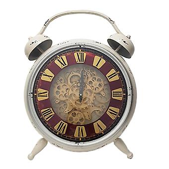 Newton alarm moving cogs standing table clock - natural / beige