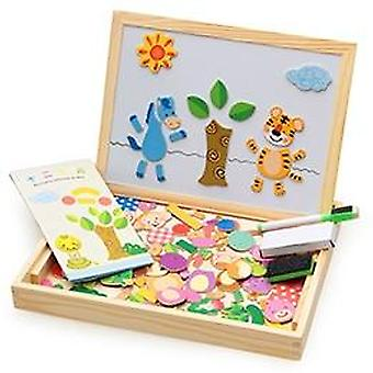 Wooden Magnetic Art Easel - Puzzle Figure/animals/ Vehicle /circus Drawing