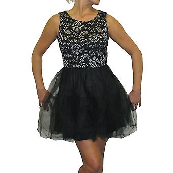 Womens Mini Puff Ball Dress Ladies Silver Floral Lace Mesh Little Black Skater Party Evening Dress 10-12