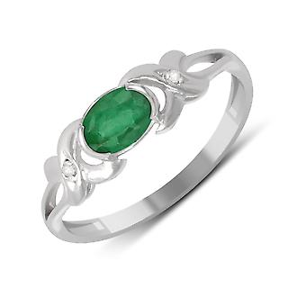 ADEN 925 Sterling Silver Emerald ring (id 4512)